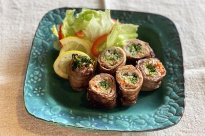 猪と野菜の広島レモン味噌巻き